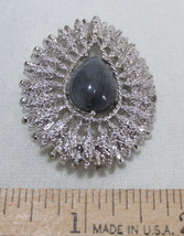 Coventry Teardrop Brooch Pin Gray Synthetic Stone Silver Tone Jewelry - $7.91