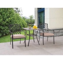 Patio Garden Bistro Set 3-Piece Steel Cushioned Table Chairs Kit Hotel F... - €163,95 EUR