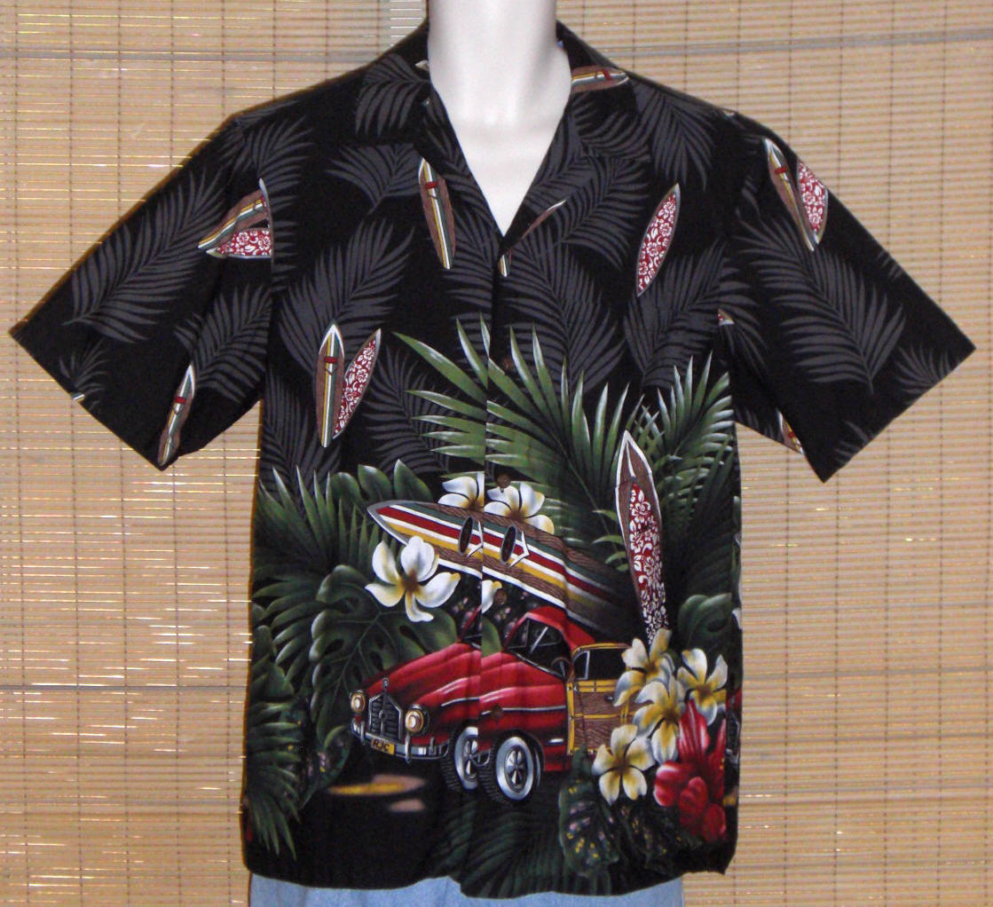 Primary image for RJC Hawaiian Shirt Black Surfboards Large