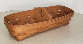 """1994 Longaberger Handwoven Oblong Bread Basket with dividers Brown 11.5"""" x 5"""" - $14.85"""
