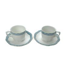 Vintage Johnson Bros, Touraine Blue White China England Teacup Cup Saucers - $29.70