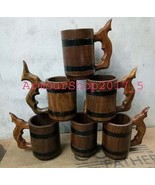 Wooden Beer Mug Tankard With 500 ml Wood Cup Gift set off six mug - $90.09