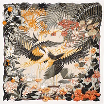Hermes Carre 90 Scarf Stole FLAMINGO PARTY Animal Floral Silk Woman Auth Rare - $517.69