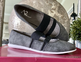 A2 By Aerosoles Womens Flats Shoes Slip On Gray Loafers Snakeskin Design Sz 5.5 - $24.50