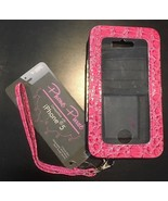PHONE PURSE Apple iPhone 5 Case Pink Reptile Card Holder Touch Screen Ac... - $4.99