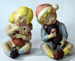Set Vintage Porcelain Baby Girl w/ Doll Boy w/ Teddy Bear Cute Statues D... - $47.49
