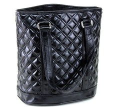 Authentic Marc By Marc Jacobs Quilted shape Black PVC Leather Hand Shoul... - $117.81