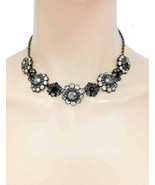 Designer Inspired Black and Clear Crystals Dainty Flower Floret Goth Necklace - $12.83