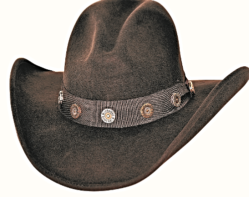 Bullhide Shotgun Premium Wool Cowboy Hat Gus Crown Shotgun Conchos Black  Brown 5dd9f83cab8f