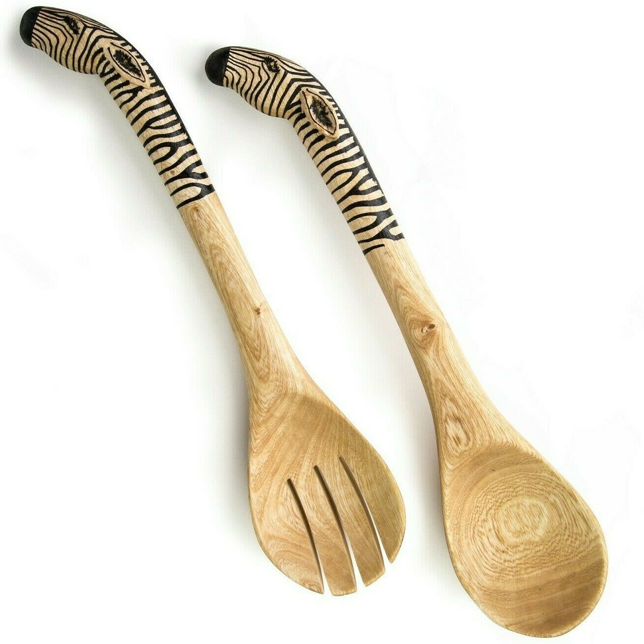 Acacia Creations Hand Carved Wood Safari African Zebra Salad Servers Set