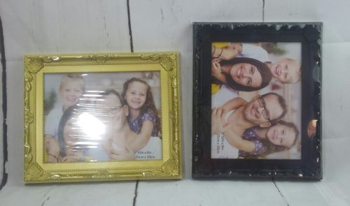 New Picture Frame Set of 2 Black and Gold 10in by 8in (25cm × 20cm)