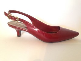 Ettiene Aigner Terry Rounded Pointed Toe Red Slingback Kitten Heels 6 - $26.99