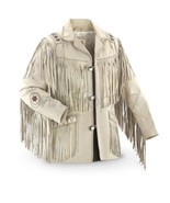 Traditional Mens Native America White Suede Scully Leather Jacket Fringes Beads - $169.99 - $239.99