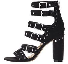Women's Shoes Sam Edelman YORK Gladiator Sandals Heels Studs Suede Black - $110.00