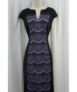 Connected Dress Sz 6 Black Violet Bonded Lace Cap Sleeve Career Cocktail... - €35,56 EUR