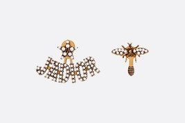 AUTHENTIC Christian Dior 2019 J'ADIOR Pearl Studded Bee Wasp Earrings Aged Gold