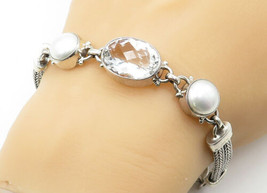 925 Sterling Silver - Cubic Zirconia & Freshwater Pearls Chain Bracelet ... - $72.06