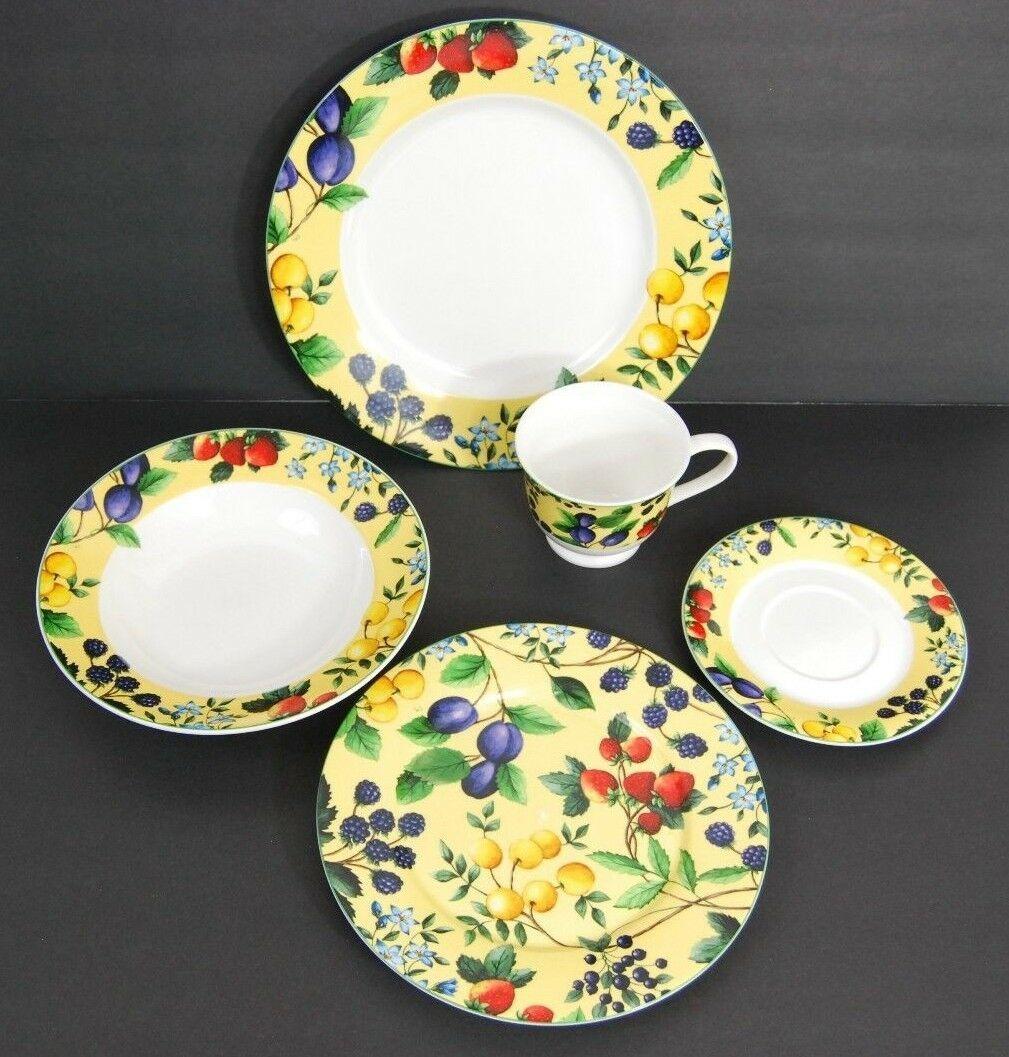 Gibson Elite Claire Murray Bella Sola Yellow Fruit & Berries Plates, Dinnerware
