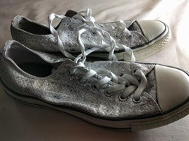 Womens Shoes Converse Size 7 UK Synthetic Silver Shoes - $26.06