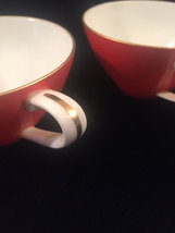 2 Noritake Orange and White tea cups - Vintage 50s flat cup with gold trim image 5