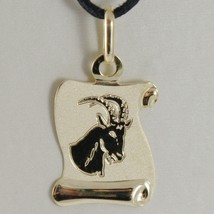 18K Yellow Gold Zodiac Sign Medal Capricorn Parchment Engravable Made In Italy - $84.65
