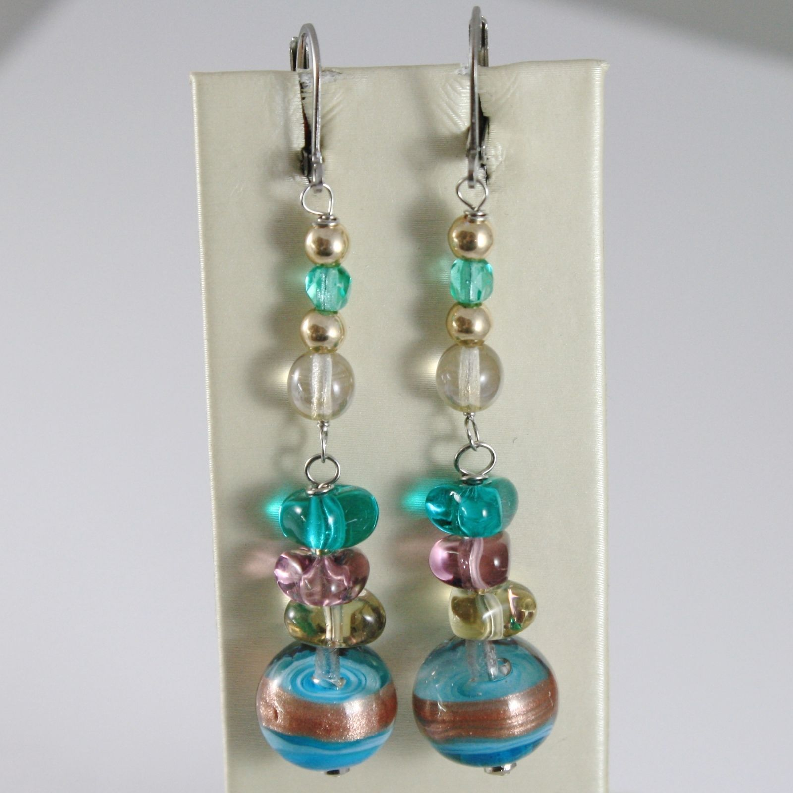 ANTICA MURRINA VENEZIA PENDANT EARRINGS BLUE GREEN FINELY STRIPED BALL