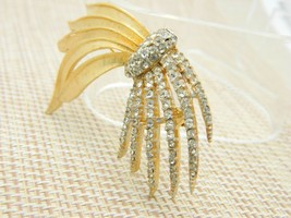 Clear Rhinestone Pave Abstract Firework Pin Brooch Vintage image 2