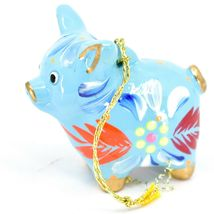 Handcrafted Painted Ceramic Blue Pig Confetti Ornament Made in Peru image 3