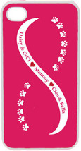 Light Pink and White Infinity Paw w/ Four Pink Custom Names on iPhone 4 ... - $15.95