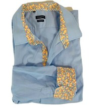 Rosso Milano Italy Modern Fit Floral Interior Trim Dress Shirt Excellent... - $22.43