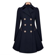Two Row Buttons Trench Coat For Women - $48.00