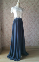 Split Maxi Chiffon Skirt Blue Gray White Wedding Chiffon Skirt Bridesmaid Outfit image 3