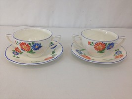 Crown Ducal Ware England Floral 4 pc Set Saucer Bouillon Double Handle Cup - $58.75