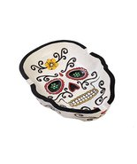 Day of The Dead Colorful White Skull Ashtray Resin Figurine Dias De Los ... - $17.81