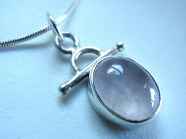 Dainty Rose Quartz 925 Silver Pendant India New - $10.88