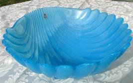"""Fenton Sky Blue Large Shell Shaped 12"""" Bowl Unused - $57.50"""
