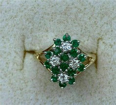 2.50 Ct Emerald and Diamond Engagement Wedding Ring 18k Yellow Gold Finish - $75.05