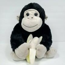 "Gorilla Ape Black Brown Monkey Ape Banana Plush Big Eyes Stuffed Animal 14"" Soft - $34.64"