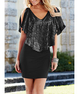 Bodycon Party Dress - Cocktail Dress Style / Shimmering Mesh Overlay - $22.00
