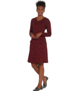 Denim & Co. Petite Medium Printed Long Sleeve V-Neck Fit Flare Dress Fall Wine - $8.00