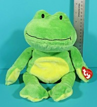 Ty Pluffies Ponds Frog Green Yellow Plush Plastic Eyes Lovey 2010 w/ Tag - $24.95