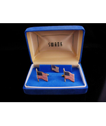 Patriotic Cufflinks set / vintage Swank flag tie tack / USA Red White Bl... - £140.96 GBP