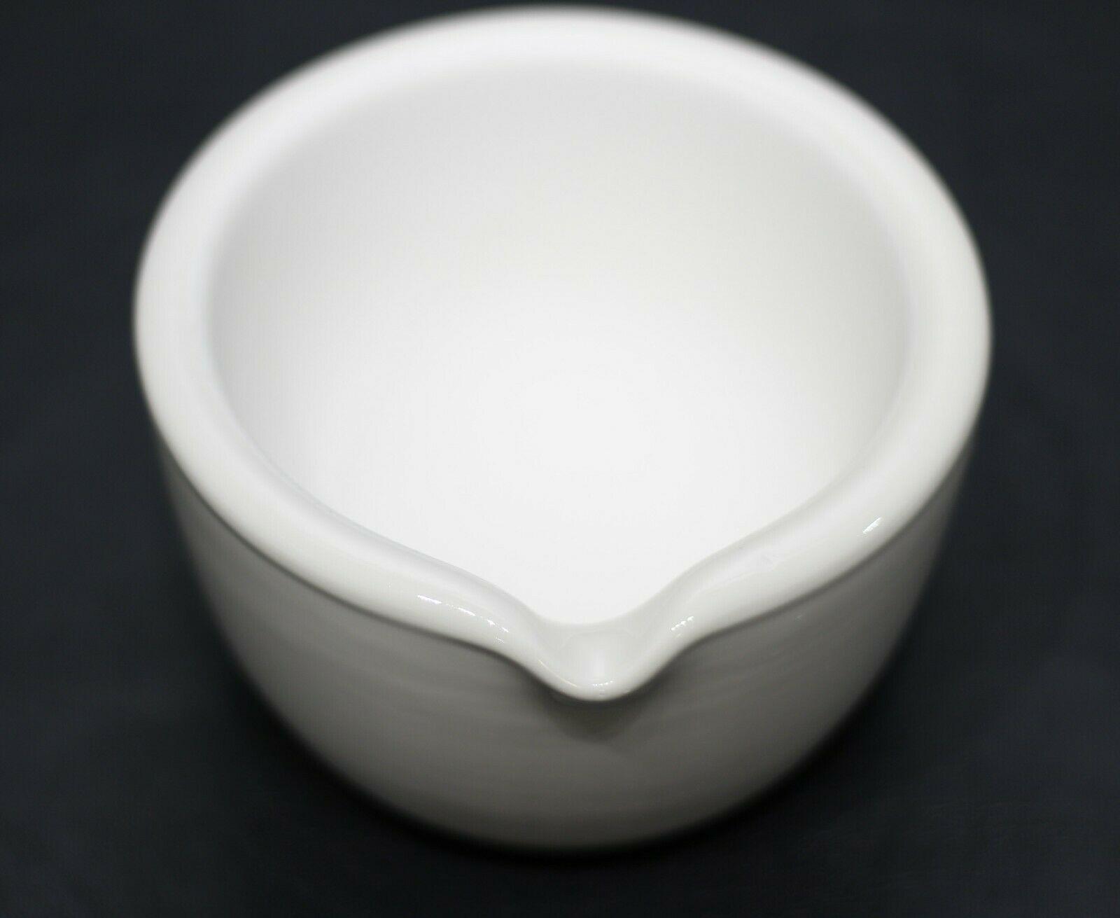 CoorsTek 60322 Porcelain Mortar w/ Pouring Lip & 60323 Porcelain Pestle