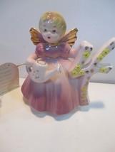 Vintage Josef Original 4 Year Birthday Angel Doll Figurine Pink Dress - $7.91