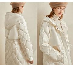 Women's European Brand Designer Thick Hooded Solid Quilted Down Winter Coat image 9