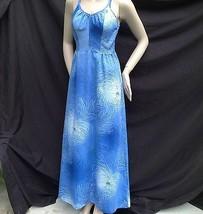 Vtg Blue Hawaiian Floral Maxi Dresss Kimos Polynesian Shop Hawaii Smocked S - $54.45