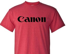 Canon T-shirt Heather Red retro camera brands 80's cotton blend graphic tee image 1