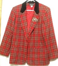 Women's Christmas Plaid Lined Blazer Jacket Wool Blend Sz 14 - $57.09