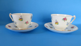 Set of 2 Crown Staffordshire Rose Pansy Footed Cup & Saucer Set - $9.49