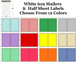 6x9 ( White ) Poly Mailers + Colored Half Sheet Self Adhesive Shipping L... - $1.99+